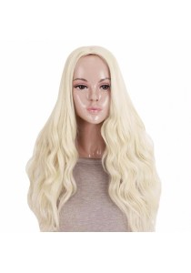 Fashion Women Long Curly Wavy Light Off-White Full Wig Heat Resistant Hair Cosplay Party