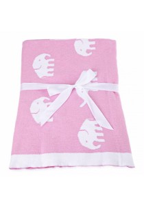 Fashion Printed Baby Cotton Water Uptake Blanket / Bath Towel (Pink Elephant)