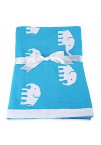 Fashion Printed Baby Cotton Water Uptake Blanket / Bath Towel (Blue Elephant)
