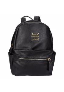Fashion Lizard Pattern Zipper Type PU Leather Student Double Shoulder Bag for Ladies (Black)