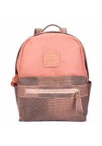 Fashion Lizard Pattern Zipper Type PU Leather Student Double Shoulder Bag for Ladies (Pink)