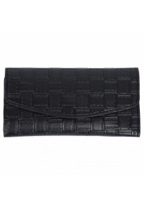Fashion Retro Plaid Long Section Clutch Embossed Wallet Purse for Women (Black)