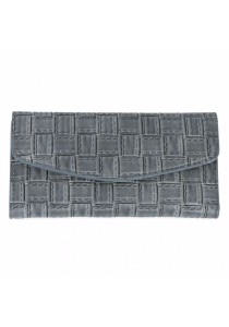 Fashion Retro Plaid Long Section Clutch Embossed Wallet Purse for Women (Deep Grey)