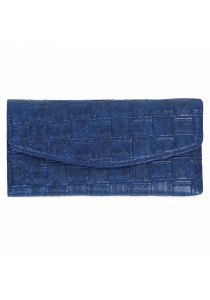Fashion Retro Plaid Long Section Clutch Embossed Wallet Purse for Women (Blue)