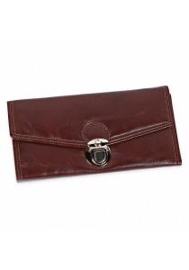Fashion Women Long Section Triple Fold Lock Handbag Purse (Brown)