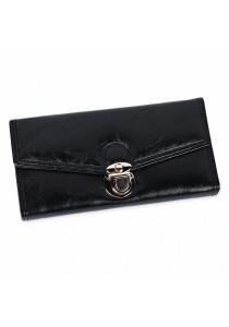 Fashion Women Long Section Triple Fold Lock Handbag Purse (Black)