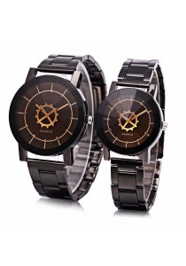 Fashion Couple Quartz Watch Solid Mirror Artificial Diamond Stainless Steel Band Wristwatch