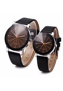 Fashion Couple Quartz Watch Artificial Diamond Leather Band Solid Mirror Wristwatch (Black)
