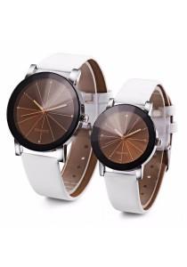 Fashion Couple Quartz Watch Artificial Diamond Leather Band Solid Mirror Wristwatch (White)