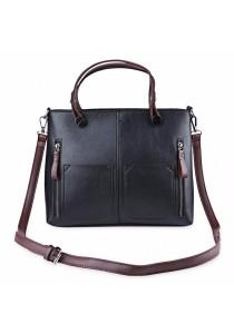 Fashion Retro Dual Pocket Handbag Large Package Scrub Leather Shoulder Bag for Ladies (Black)