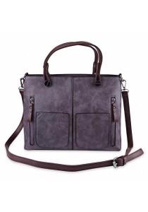 Fashion Retro Dual Pocket Handbag Large Package Scrub Leather Shoulder Bag for Ladies (Purple)