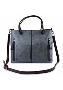 Fashion Retro Dual Pocket Handbag Large Package Scrub Leather Shoulder Bag for Ladies (Grey)