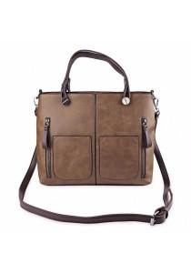 Fashion Retro Dual Pocket Handbag Large Package Scrub Leather Shoulder Bag for Ladies (Brown)