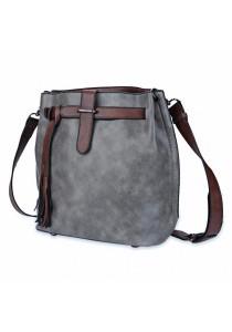 Fashion Women Retro Scrub Bucket Vintage Tassel Messenger Shoulder Simple Crossbody Bag (Grey)