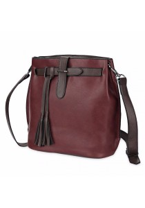 Fashion Women Retro Scrub Bucket Vintage Tassel Messenger Shoulder Simple Crossbody Bag (Wine Red)