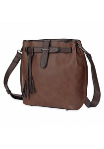 Fashion Women Retro Scrub Bucket Vintage Tassel Messenger Shoulder Simple Crossbody Bag (Chocolate)
