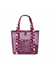 Travel Portable Mesh Beach Tote Handbag Shopping Bag B10202