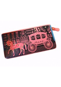 Women PU Leather Zipper Long Wallet Carriage Purse