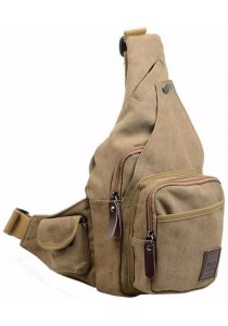 Men's Canvas Cross Body Chest Pack Hiking Cycling Bicycle Bag B5502