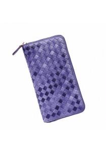 Women Stylish Rattan Plaited Faux Leather Long Wallet B7107