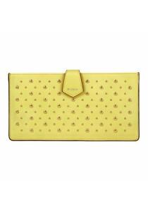 Women's Faux Leather Rivets Adorn Envelope Clutch Wallet