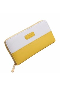 Women Two Color Zipper Long Wallet B8614