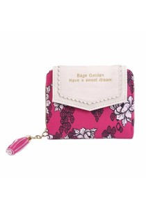 Women's Flower Printed Zipper Short Clutch Wallet B9605