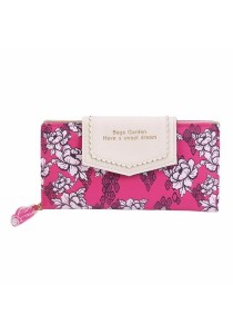 Women's Flower Printed Zipper Long Clutch Wallet B9606