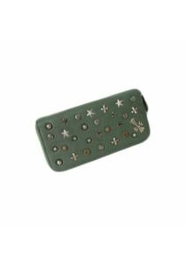 Women's Rivet Long Clutch Zipper Wallet