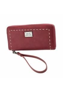 Women's Zipper Long Wallet Purse with Wrist Strap