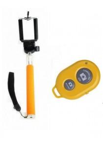 (OEM) Selfie Monopod (Orange) + Bluetooth Remote Shutter