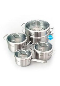 Zebra Stainless Steel Estio Pro Cookware Set of 9 with Glass Lid Z185-371