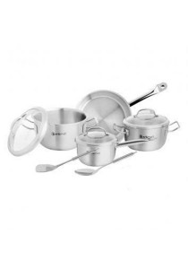 Zebra Stainless Steel Estio Pro Cookware Set of 9 with Glass Lid Z185-372