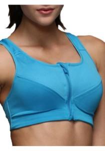 FASHION TEE Women Absolute Workout Zipper Running Bra (Blue)