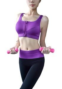 FASHION TEE Sports/Yoga/Fitness Women Absolute Workout Racerback Zipper Running Bra (Purple)