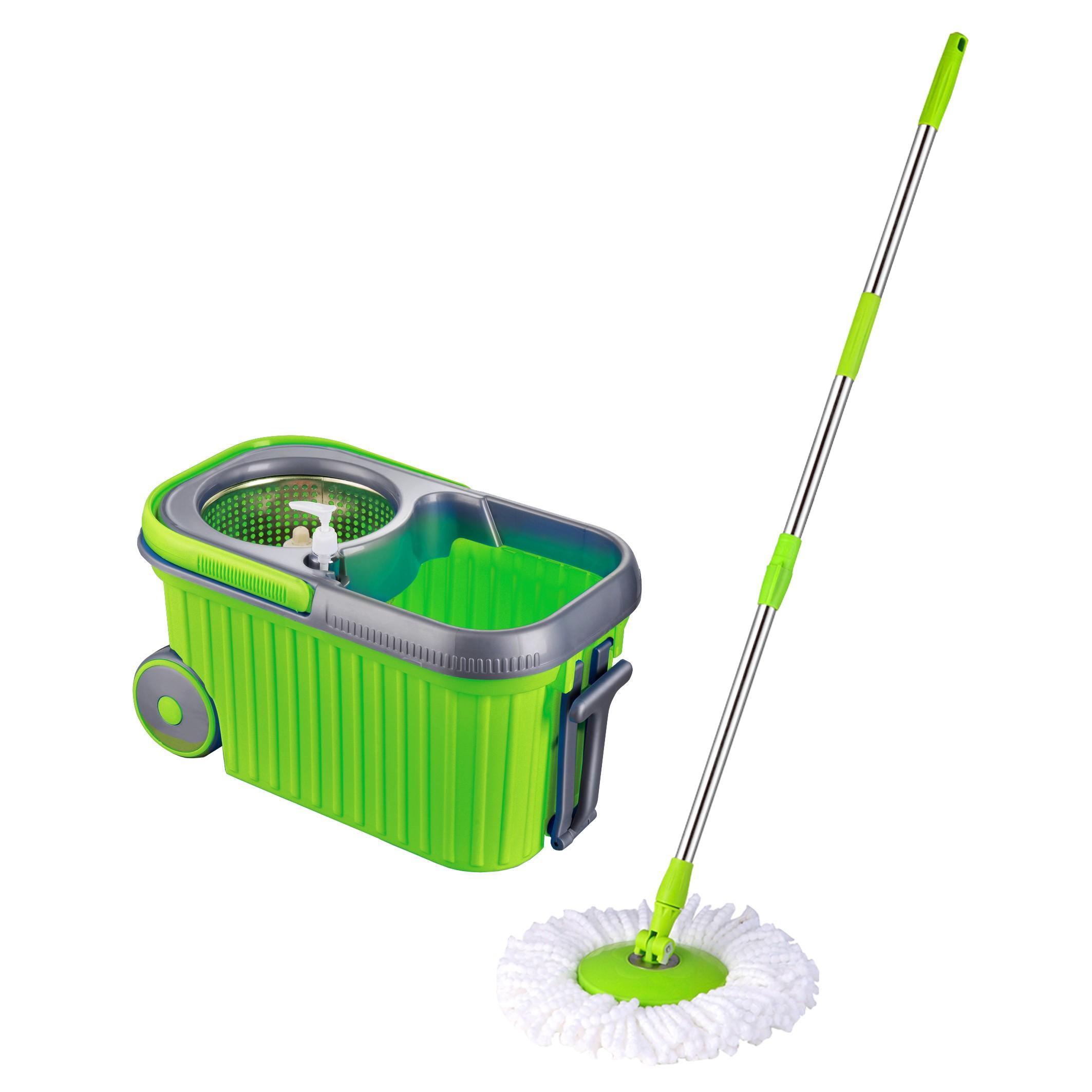Stainless Steel Mop : Easy Mop Microfiber Spin Mop Wheels Pail & Stainless Steel Basket ...