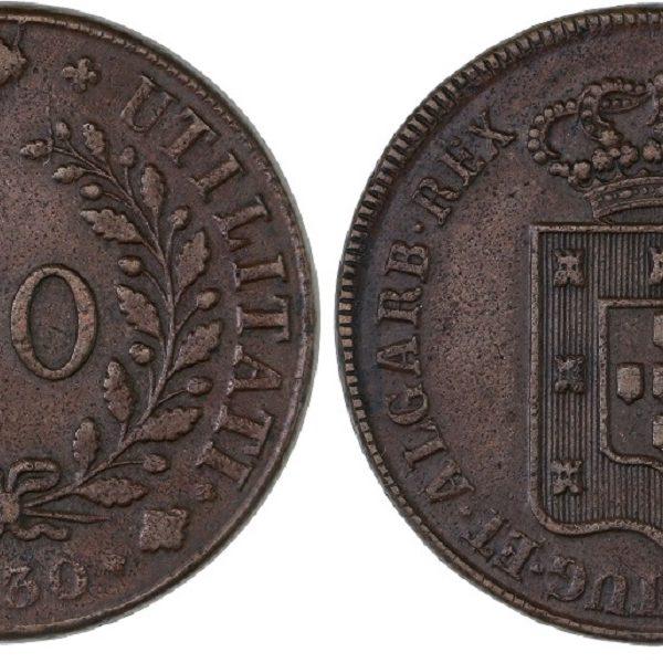 Portugal 1830 40 Reis Pataco AU-55