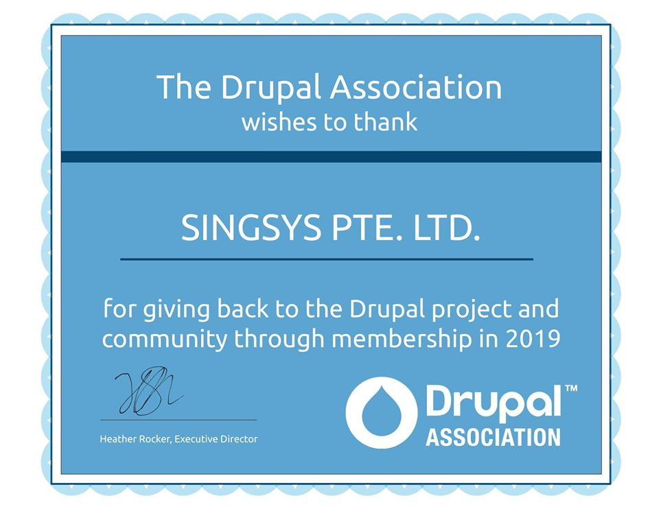 Drupal Association Membership: Singsys Pte. Ltd. joins the unprecedented Global Mission of Powering the Best for the Web with Drupal!