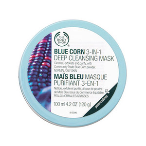 The body shop blue corn 3 in 1 deep cleansing scrub mask for normal oily skin