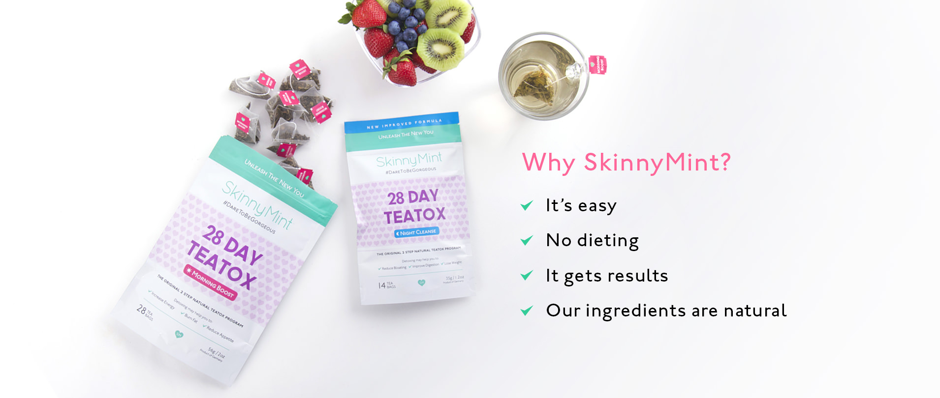Natural organic ingredients in SkinnyMint night cleanse and morning boost to boost metabolism