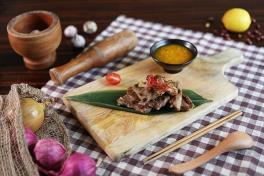 Pan Fried Iberico Pork Neck W Pineapple Salsa