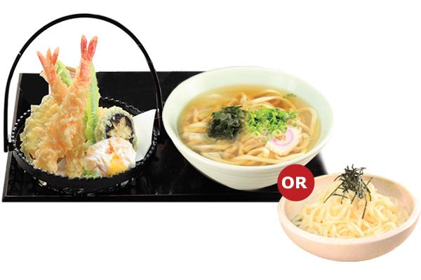 Tempura Udon  Set (hot/cold) 天ぷらうどん定食(熱/冷)