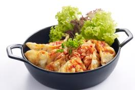 Fried Pork Dumplings with Chopped Kimchi