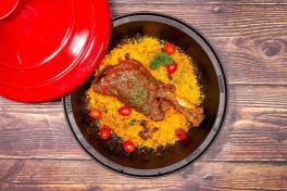Braised Moroccan Whole Lamb Shank