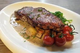 Marble Beef Steak with Truffle sauce