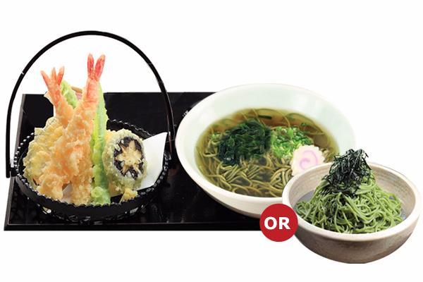TEMPURA UDON/ SOBA (HOT/COLD)  天ぷらうどん/ 茶そば(熱/冷)