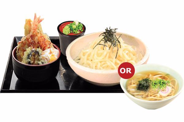 MINI TENDON WITH UDON/ SOBA  ミニ天丼うどん/茶そば