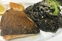 Spaghetti Al nero w/ Crispy Skin Salmon (includes 1 drink)