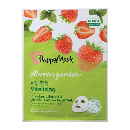 Happy Mask Berries Garden Strawberry Extract & Vitamin C Complex Facial Mask (Vitalising)