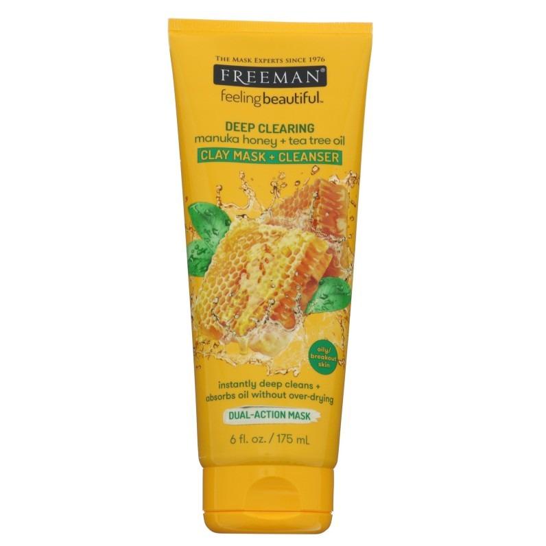 Freeman Beauty DEEP CLEARING manuka honey + tea tree oil CLAY MASK + CLEANSER